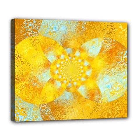 Gold Blue Abstract Blossom Deluxe Canvas 24  X 20   by designworld65