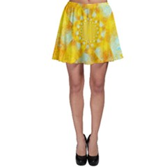 Gold Blue Abstract Blossom Skater Skirt by designworld65