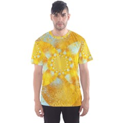 Gold Blue Abstract Blossom Men s Sport Mesh Tee by designworld65