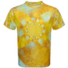 Gold Blue Abstract Blossom Men s Cotton Tee by designworld65