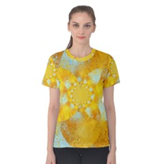 Gold Blue Abstract Blossom Women s Cotton Tee by designworld65