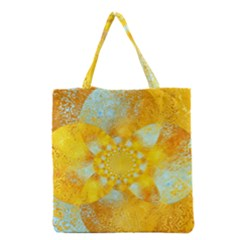 Gold Blue Abstract Blossom Grocery Tote Bag by designworld65