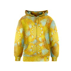 Gold Blue Abstract Blossom Kids  Zipper Hoodie by designworld65