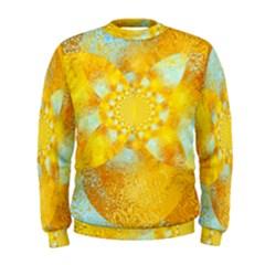 Gold Blue Abstract Blossom Men s Sweatshirt by designworld65