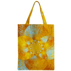 Gold Blue Abstract Blossom Zipper Classic Tote Bag by designworld65