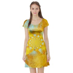 Gold Blue Abstract Blossom Short Sleeve Skater Dress by designworld65