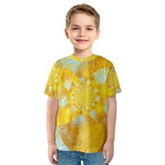 Gold Blue Abstract Blossom Kids  Sport Mesh Tee by designworld65