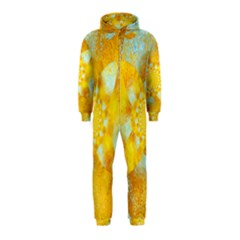 Gold Blue Abstract Blossom Hooded Jumpsuit (kids) by designworld65