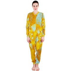 Gold Blue Abstract Blossom Onepiece Jumpsuit (ladies)  by designworld65
