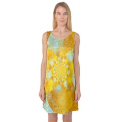 Gold Blue Abstract Blossom Sleeveless Satin Nightdress by designworld65