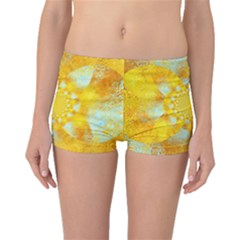Gold Blue Abstract Blossom Boyleg Bikini Bottoms by designworld65