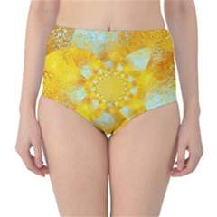 Gold Blue Abstract Blossom High Waist Bikini Bottoms by designworld65