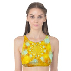 Gold Blue Abstract Blossom Tank Bikini Top by designworld65