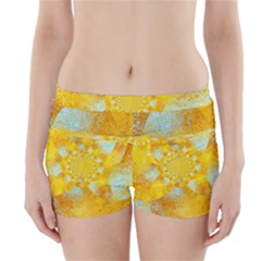 Gold Blue Abstract Blossom Boyleg Bikini Wrap Bottoms by designworld65