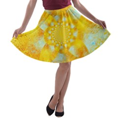 Gold Blue Abstract Blossom A Line Skater Skirt by designworld65