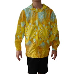 Gold Blue Abstract Blossom Hooded Wind Breaker (kids) by designworld65