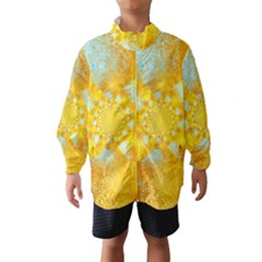 Gold Blue Abstract Blossom Wind Breaker (kids) by designworld65