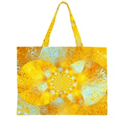 Gold Blue Abstract Blossom Zipper Large Tote Bag by designworld65