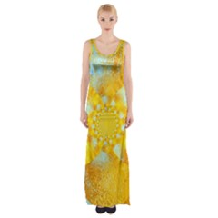 Gold Blue Abstract Blossom Maxi Thigh Split Dress by designworld65