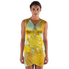 Gold Blue Abstract Blossom Wrap Front Bodycon Dress by designworld65