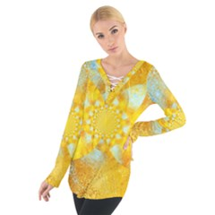 Gold Blue Abstract Blossom Women s Tie Up Tee by designworld65