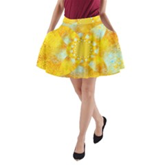 Gold Blue Abstract Blossom A Line Pocket Skirt by designworld65