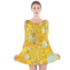 Gold Blue Abstract Blossom Long Sleeve Velvet Skater Dress by designworld65