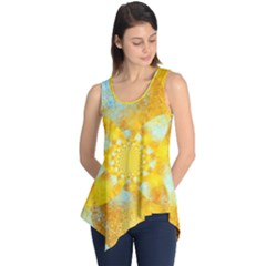 Gold Blue Abstract Blossom Sleeveless Tunic by designworld65