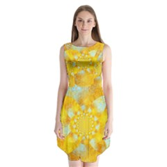 Gold Blue Abstract Blossom Sleeveless Chiffon Dress   by designworld65