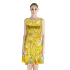 Gold Blue Abstract Blossom Sleeveless Chiffon Waist Tie Dress by designworld65
