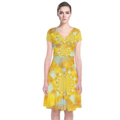 Gold Blue Abstract Blossom Short Sleeve Front Wrap Dress by designworld65