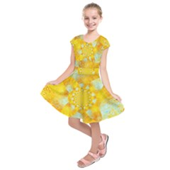 Gold Blue Abstract Blossom Kids  Short Sleeve Dress by designworld65
