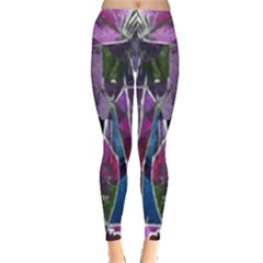 Sly Dog Modern Grunge Style Blue Pink Violet Leggings  by EDDArt