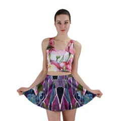 Sly Dog Modern Grunge Style Blue Pink Violet Mini Skirt by EDDArt
