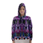 Sly Dog Modern Grunge Style Blue Pink Violet Hooded Wind Breaker (Women)