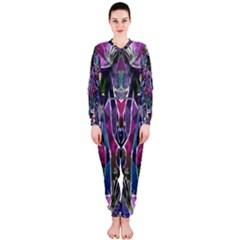 Sly Dog Modern Grunge Style Blue Pink Violet Onepiece Jumpsuit (ladies)  by EDDArt