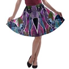 Sly Dog Modern Grunge Style Blue Pink Violet A Line Skater Skirt by EDDArt