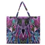 Sly Dog Modern Grunge Style Blue Pink Violet Zipper Large Tote Bag