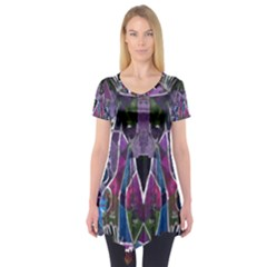 Sly Dog Modern Grunge Style Blue Pink Violet Short Sleeve Tunic  by EDDArt