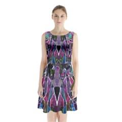 Sly Dog Modern Grunge Style Blue Pink Violet Sleeveless Chiffon Waist Tie Dress by EDDArt