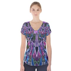 Sly Dog Modern Grunge Style Blue Pink Violet Short Sleeve Front Detail Top by EDDArt