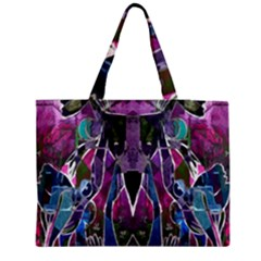 Sly Dog Modern Grunge Style Blue Pink Violet Medium Zipper Tote Bag by EDDArt