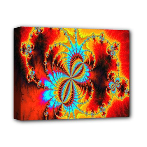 Crazy Mandelbrot Fractal Red Yellow Turquoise Deluxe Canvas 14  X 11  by EDDArt