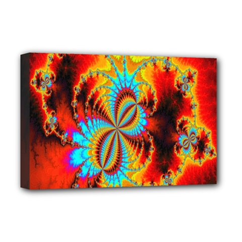 Crazy Mandelbrot Fractal Red Yellow Turquoise Deluxe Canvas 18  X 12   by EDDArt