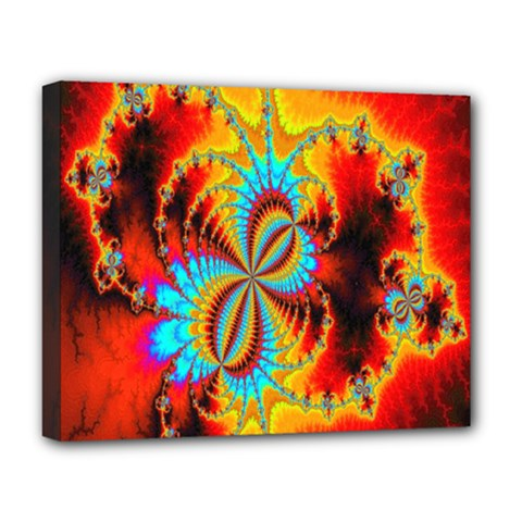 Crazy Mandelbrot Fractal Red Yellow Turquoise Deluxe Canvas 20  X 16   by EDDArt