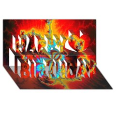 Crazy Mandelbrot Fractal Red Yellow Turquoise Happy Birthday 3d Greeting Card (8x4) by EDDArt