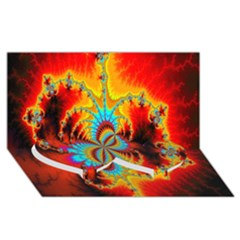 Crazy Mandelbrot Fractal Red Yellow Turquoise Twin Heart Bottom 3d Greeting Card (8x4) by EDDArt