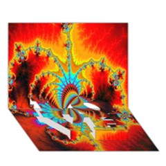 Crazy Mandelbrot Fractal Red Yellow Turquoise Love Bottom 3d Greeting Card (7x5) by EDDArt