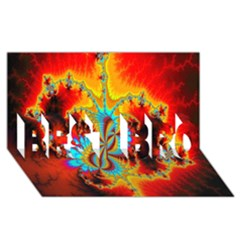Crazy Mandelbrot Fractal Red Yellow Turquoise Best Bro 3d Greeting Card (8x4) by EDDArt