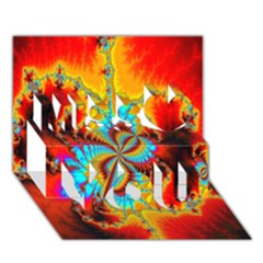 Crazy Mandelbrot Fractal Red Yellow Turquoise Miss You 3d Greeting Card (7x5) by EDDArt